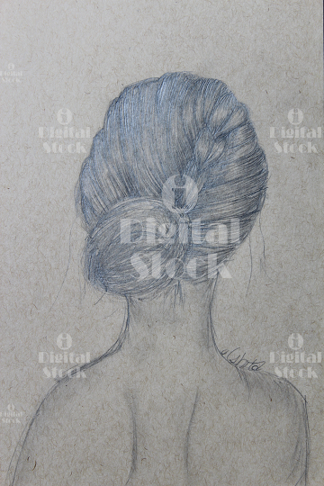 a sketch of a woman with a bun idigitalstock royalty free stock