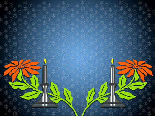 Colorful Background With Candles And Flowers
