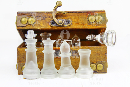 Chess pieces in a box.